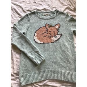 Light blue knit sweater with sleeping fox like new